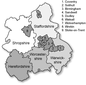 Map of West Midlands region