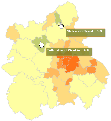 Proportion of the working age population claiming Jobseeker's Allowance in the West Midlands by local authority district (updated July 2009)