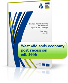 Report cover: The West Midlands economy post recession