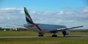 Boeing 777 on runway at Birmingham Airport