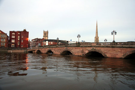 Burst banks of River Severn amid flooding in Worcester